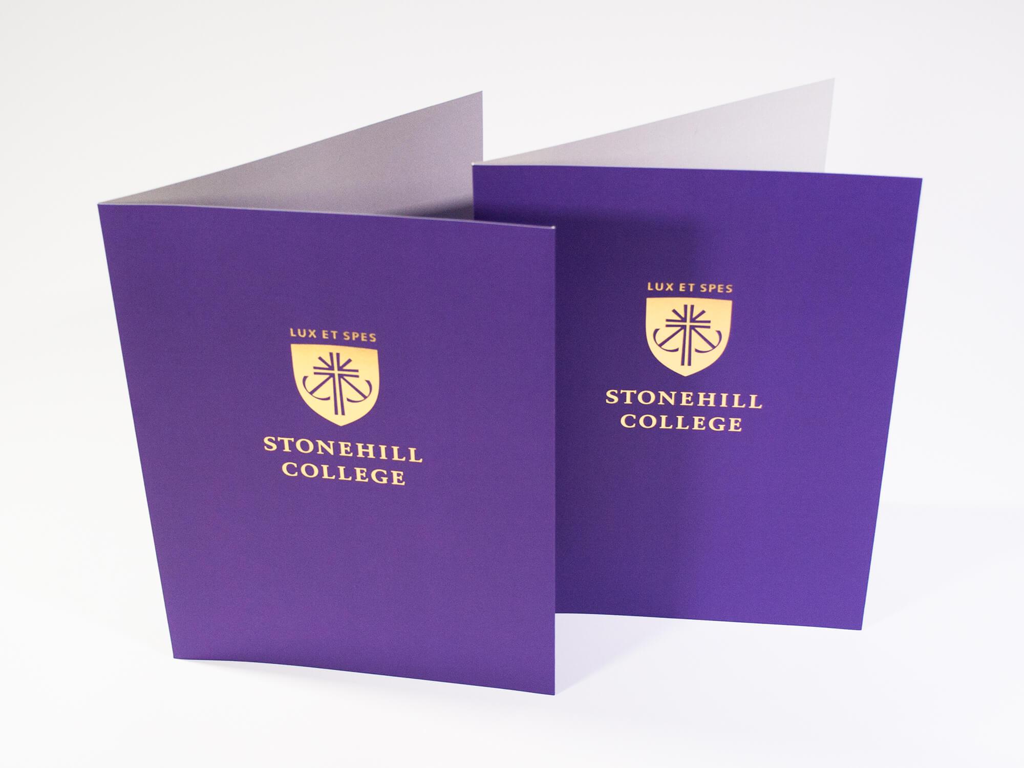 Metallic gold foil stamping  applied to pocket folder