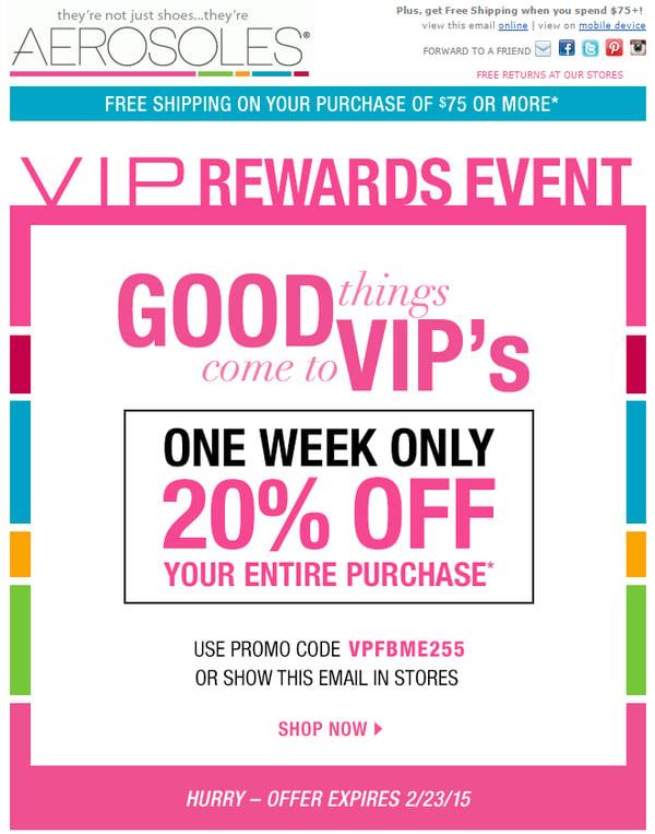 Aerosoles marketing email screenshot